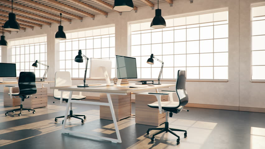 Interior Of An Empty Modern Loft Office open space 4K loopable modern office footage.