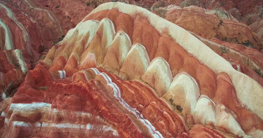 Aerial view of colorful Danxia landform in Zhangye Danxia National Geological Park of China