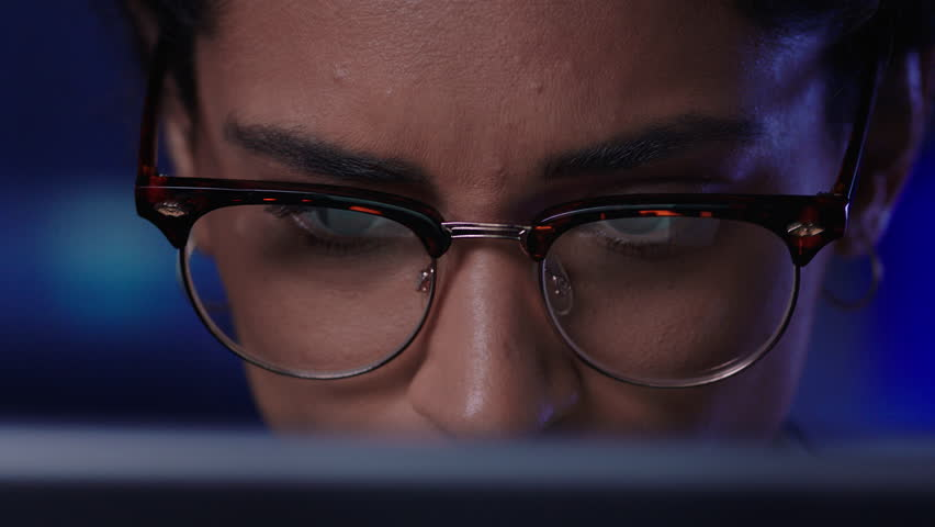 Close up portrait tired business woman using tablet computer looking exhausted working late in office | Shutterstock HD Video #1021487494
