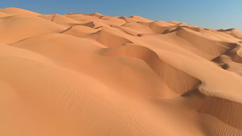 Flying over endless sand dunes in Arabian Desert. Arabian Peninsula, Oman | Shutterstock HD Video #1021490050