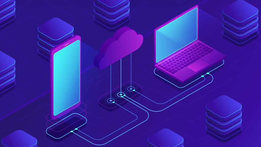 Isometric cloud storage loopable concept. Synchronization backend cloud data storage with laptop, smartphone on ultraviolet background. Upload download data transfer. 4K seamless loop video footage.   Shutterstock HD Video #1021504126