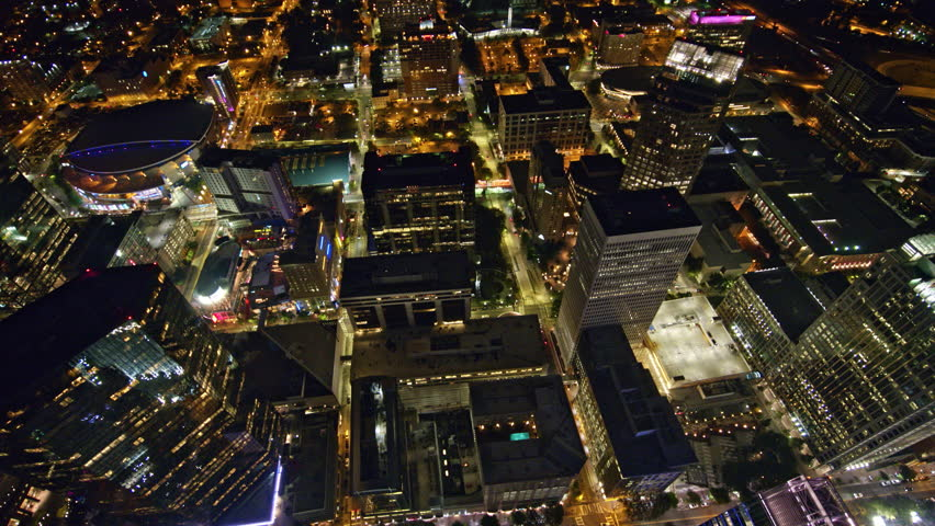 North Carolina Charlotte Aerial Moving into birdseye perspective flying over and out of downtown at night 10/17 | Shutterstock HD Video #1021505035