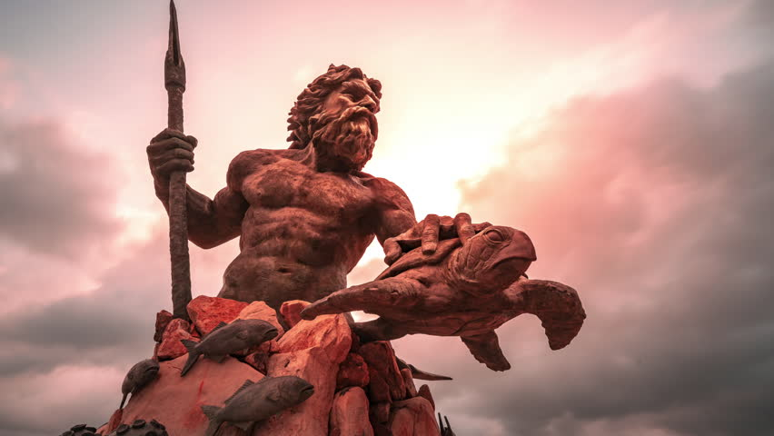 Magical Metallic Time Lapse of the Mythological King Neptune Holding a Bronze Sea Turtle