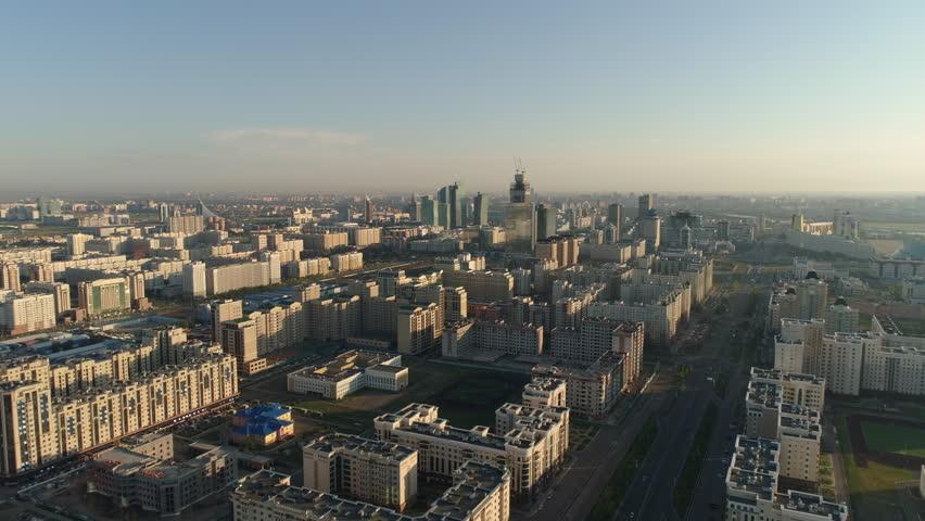 Astana, Kazakhstan - July 13, 2018: Aerial view of the city center | Shutterstock HD Video #1021588846