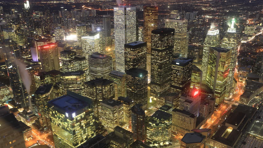 Timelapse aerial scene of Toronto, Ontario night to day 4K | Shutterstock HD Video #1021598020