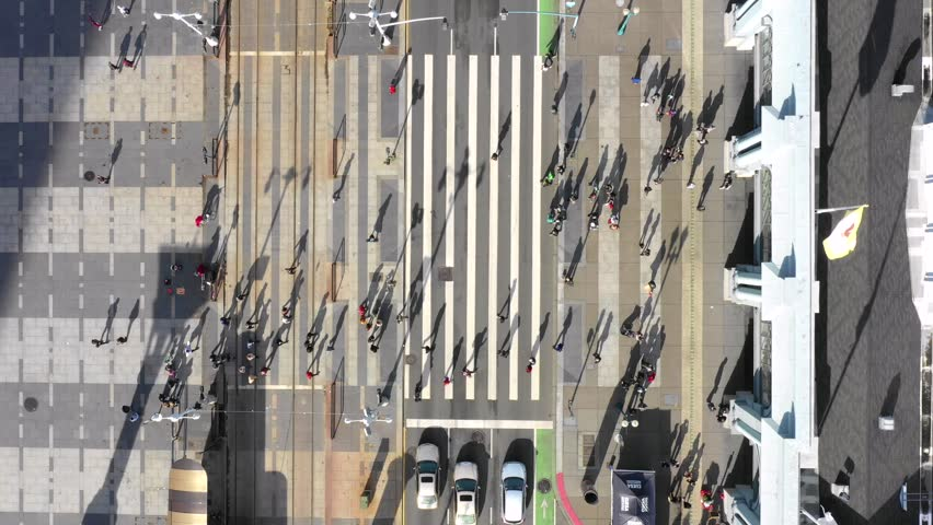 Birds Eye View of Busy Street / Crosswalk Intersection (San Francisco) | Shutterstock HD Video #1021606024