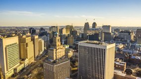 Drone hyperlapse footage of Newark, NJ downtown on a sunny afternoon.