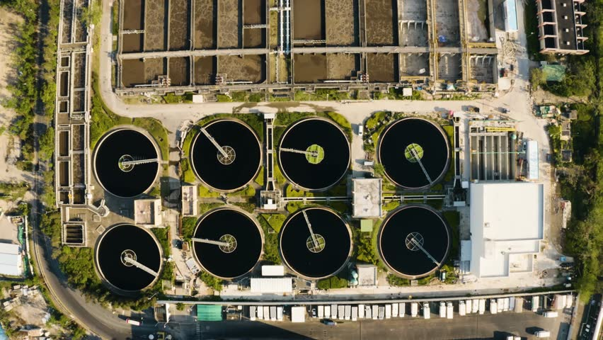 Aerial view of Water Treatment Plant | Shutterstock HD Video #1021625695