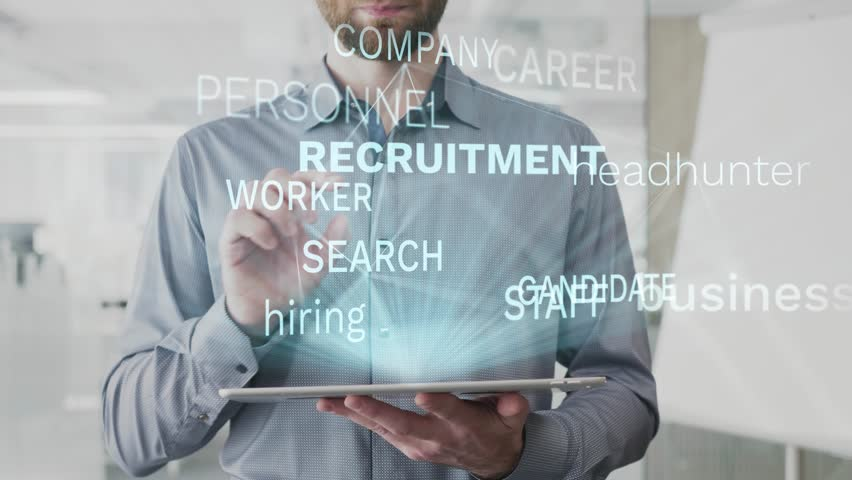 Recruitment, business, headhunter, hiring, candidate word cloud made as hologram used on tablet by bearded man, also used animated career company worker search word as background in uhd 4k 3840 2160