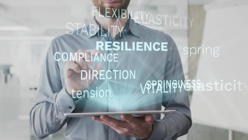 resilience, elasticity, spring, tension, physics word cloud made as hologram used on tablet by bearded man, also used animated flexibility compliance direction stability word as background in uhd 4k Royalty-Free Stock Footage #1021636807