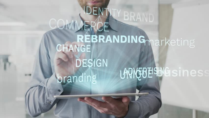 Rebranding, business, marketing, branding, advertising word cloud made as hologram used on tablet by bearded man, also used animated brand identity change design word as background in uhd 4k 3840 2160