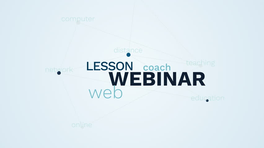 webinar lesson web coach teaching communication distance education network online computer animated word cloud background in uhd 4k 3840 2160.