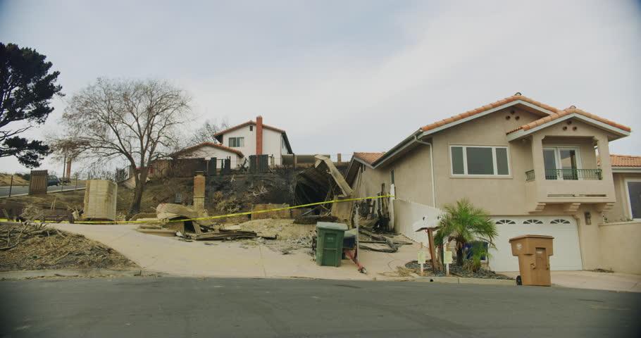 Fire damage caused by Thomas Fire in Ventura Dec 2017. Ventura county, California