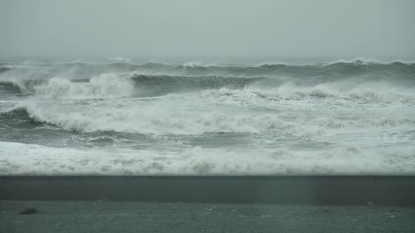 Gale Fore Hurricane Winds Atlantic Storm, Breaking Waves at Reykjanes Peninsula