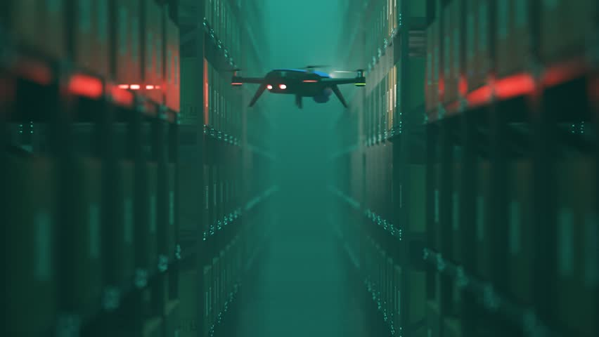Animation with warehouse drone scanning QR codes on the cardboard boxes in a metal shelf.  Fully automatic unmanned system of cargo distribution. Computer coordinated efficient logistic process. 4K.  | Shutterstock HD Video #1021829716
