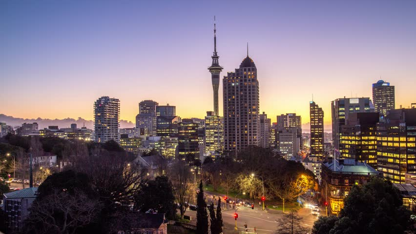 Auckland Central sunset time-lapse