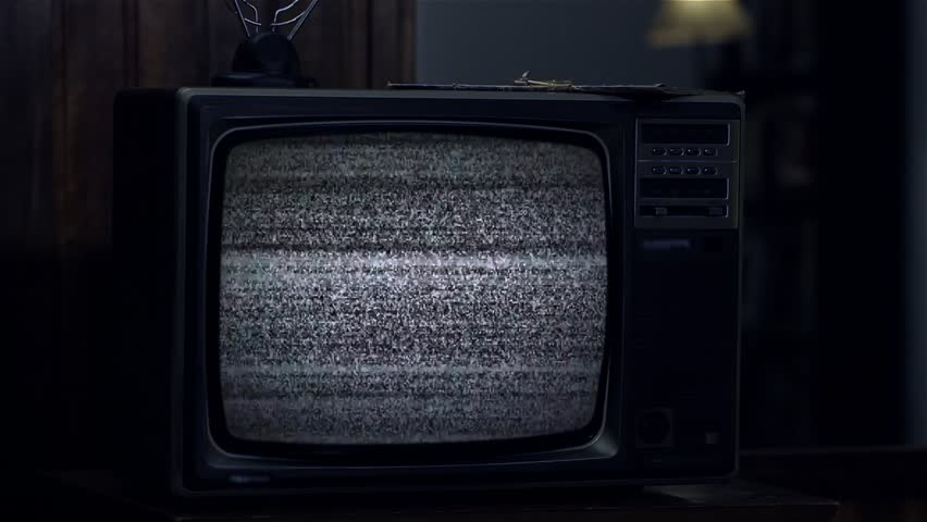 80s TV Turning On Green Screen. Night Tone.