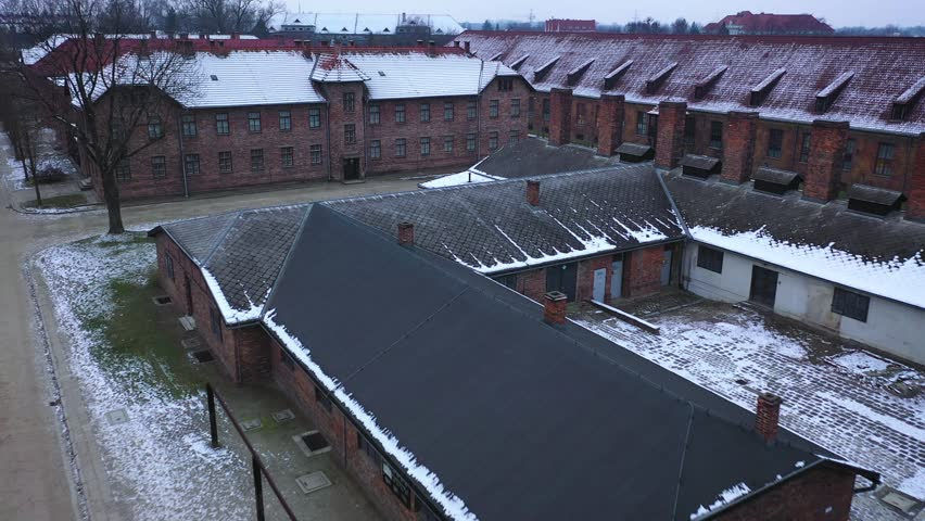 Aerial view of Auschwitz Birkenau, a concentration camp in Poland