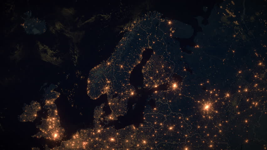 Zoom to Finland, Scandinavia. The Night View of City Lights. World Zoom Into Finland - Planet Earth. Political Borders of European Countries. The Biggest Nordic Cities: Helsinki, Espoo, Tampere.   Shutterstock HD Video #1021937146