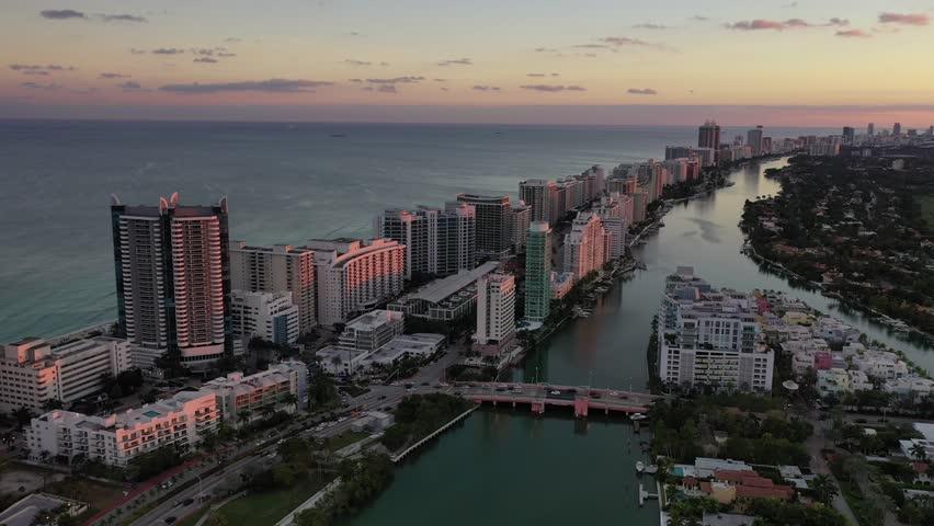 Miami, Florida / United States - 12 1 2018 : Aerial of Miami Beach, Florida