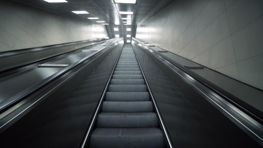 Modern Empty Working Escalator Going Up. 4K Ultra HD. | Shutterstock HD Video #1021972219