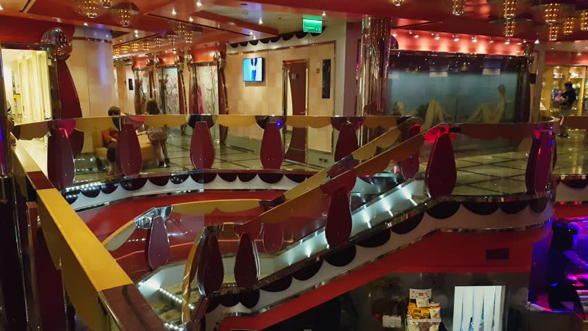 VENICE, ITALY - OCTOBER 27 2018: colorful bar on the deck of a cruise ship | Shutterstock HD Video #1021978216