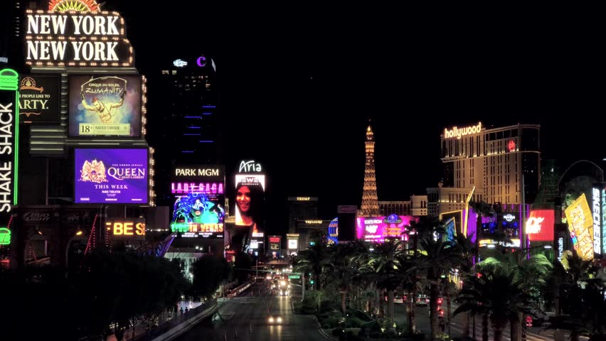 Las Vegas, USA - September 10, 2018: Las Vegas boulevard at night