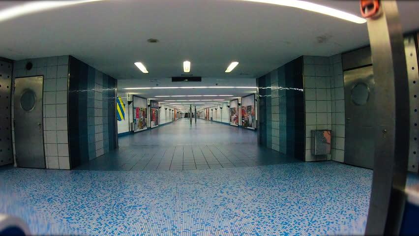 HAMBURG/GERMANY - December 2018: Hyperlapse in the subway or metro of Hamburg, Germany