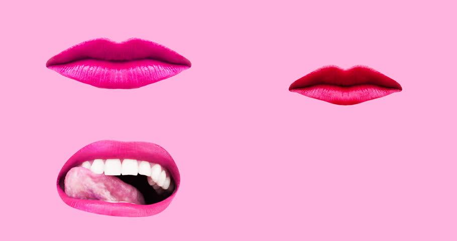 Minimal motion design art. Gif set Sweet Lips
