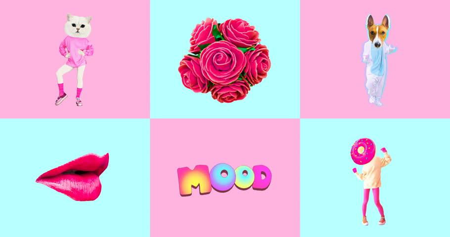 Minimal animatiom design. Gif set Candy Pink Vanilla mood.   Shutterstock HD Video #1021997521