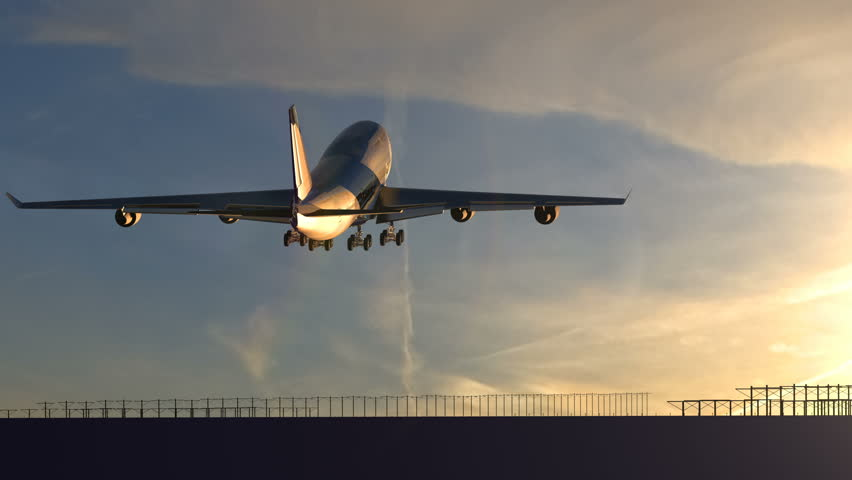 Large passenger airplane taking off against beautiful sunset | Shutterstock HD Video #1021998742