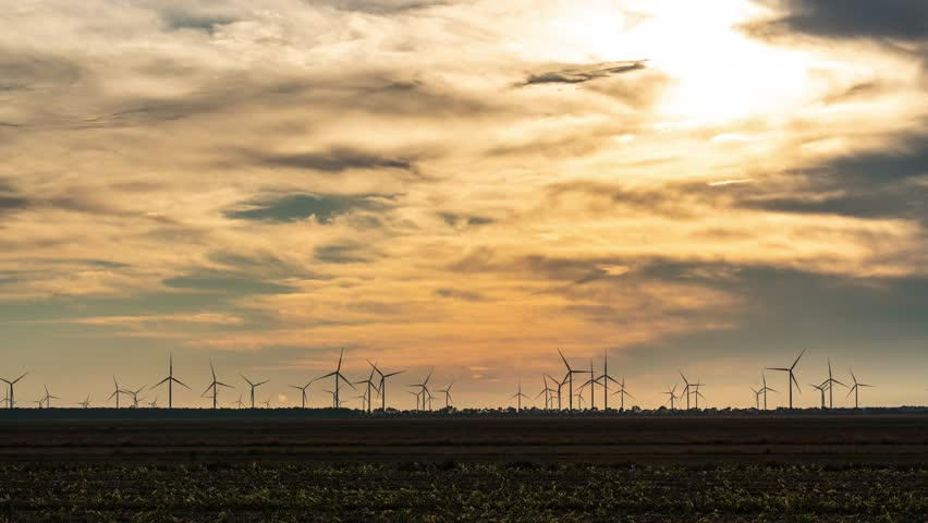 Silhouette Time Lapse of the Windmills in Elizabeth City, North Carolina #1022070361