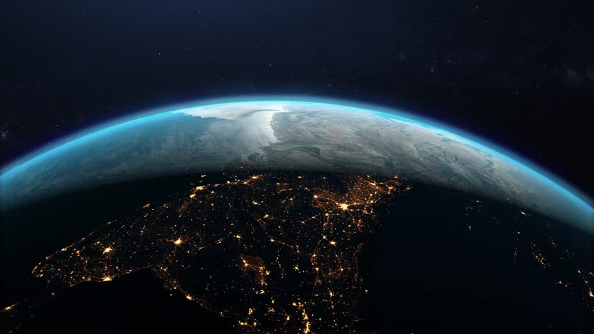 Flying over the planet earth in open space. The transition from night to day | Shutterstock HD Video #1022074132