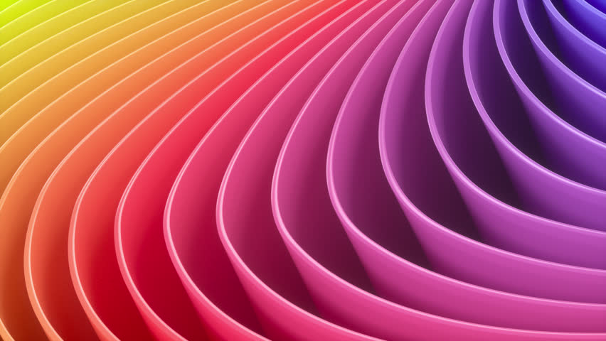 4k 3D animation of rows and rows of colorful stripes in a rainbow in a circular formation rippling.