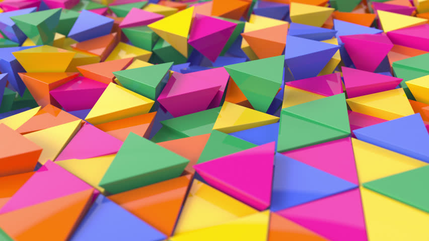 3D animation of abstract floating triangles in bright colors. 4k 3D animation.