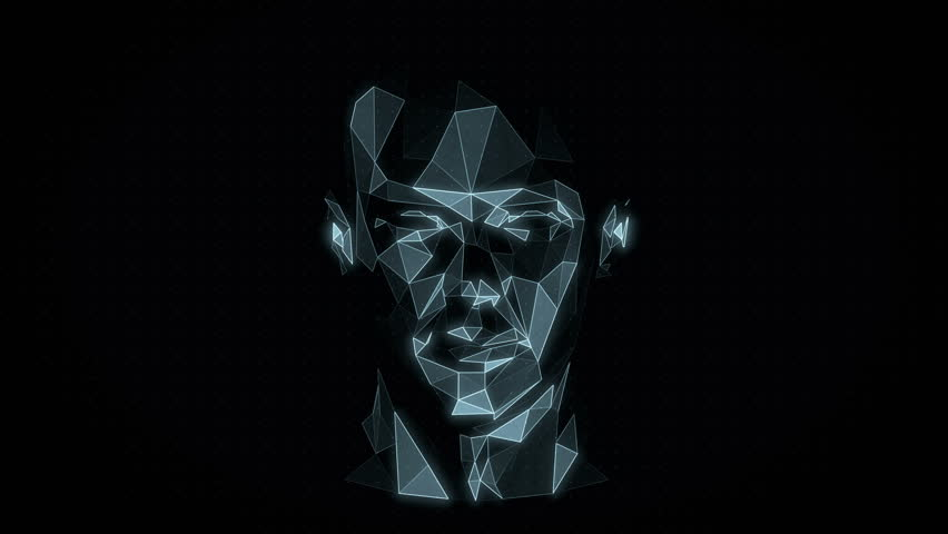 Head Hologram. Virtual Reality Avatar. Artificial Intelligence. Futuristic Interface. 3D Polygonal Mesh. Seamless Loop.