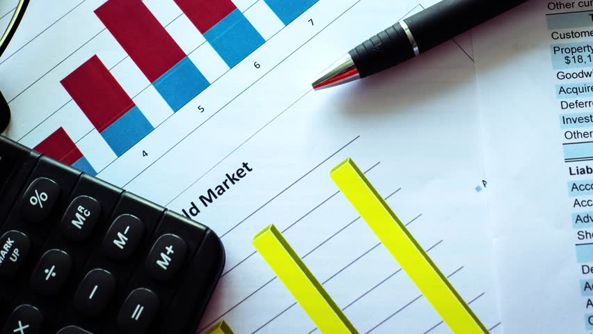 graphs and balance sheet of financial statement, analysis of business plan for stockholders.