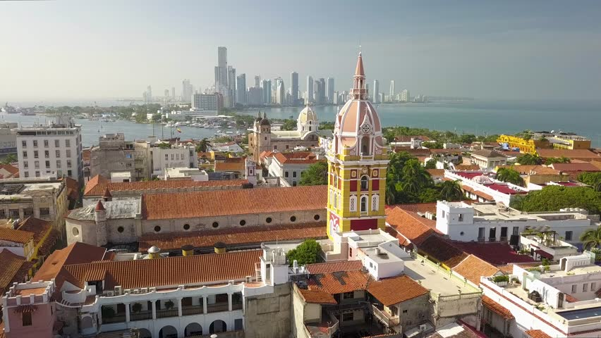 A flyover drone shot of the Cathedral of Santa Catalina de Alejandría in the beautiful old town of Cartagena de Indias, Colombia.