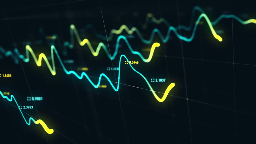 Animation growth of abstract charts with changing values of check points on dark background. Animation of seamless loop.   Shutterstock HD Video #1022110222