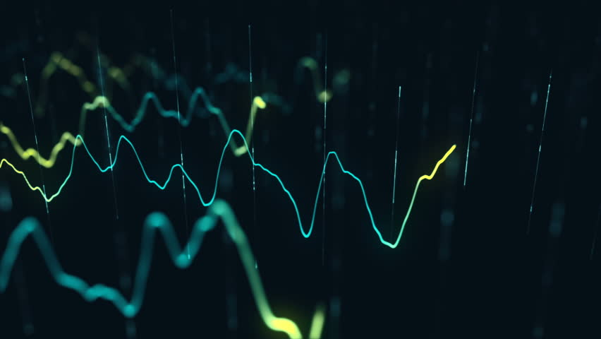 Animation growth of abstract charts with changing values of check points on dark background. Animation of seamless loop.   Shutterstock HD Video #1022110225