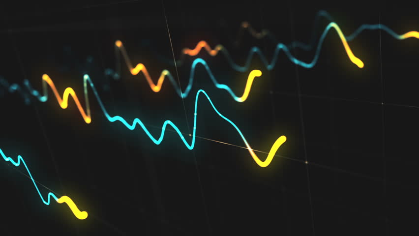 Animation growth of abstract charts with changing values of check points on dark background. Animation of seamless loop. | Shutterstock HD Video #1022110294