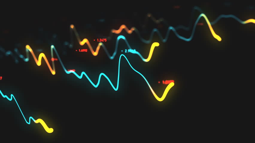 Animation growth of abstract charts with changing values of check points on dark background. Animation of seamless loop. | Shutterstock HD Video #1022110297