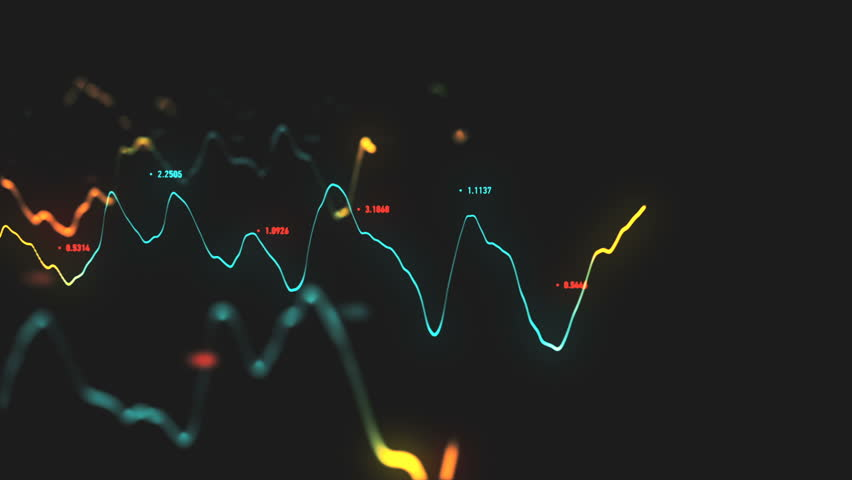 Animation growth of abstract charts with changing values of check points on dark background. Animation of seamless loop.   Shutterstock HD Video #1022110330
