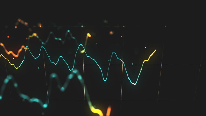 Animation growth of abstract charts with changing values of check points on dark background. Animation of seamless loop.   Shutterstock HD Video #1022110333
