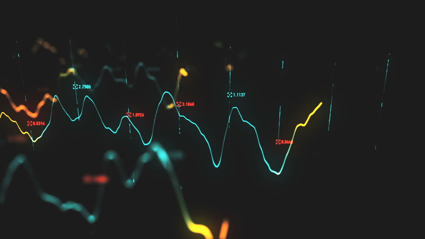 Animation growth of abstract charts with changing values of check points on dark background. Animation of seamless loop.   Shutterstock HD Video #1022110336