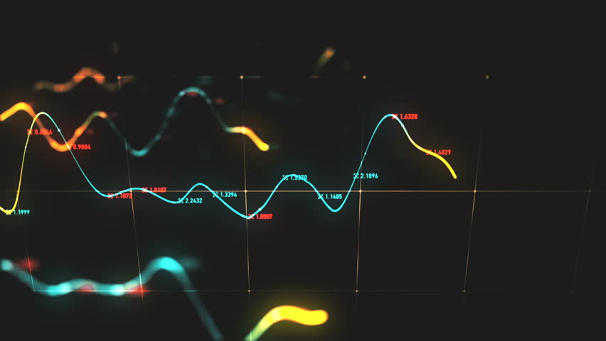 Animation growth of abstract charts with changing values of check points on dark background. Animation of seamless loop. | Shutterstock HD Video #1022110339