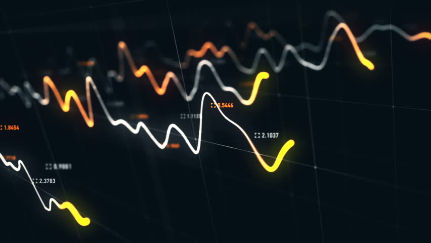 Animation growth of abstract charts with changing values of check points on dark background. Animation of seamless loop.   Shutterstock HD Video #1022110408