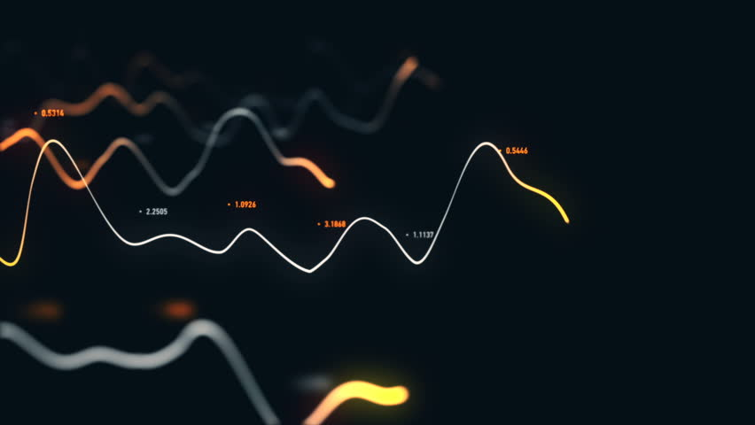 Animation growth of abstract charts with changing values of check points on dark background. Animation of seamless loop.   Shutterstock HD Video #1022110459
