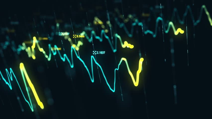 Animation growth of abstract charts with changing values of check points on dark background. Animation of seamless loop.   Shutterstock HD Video #1022110498