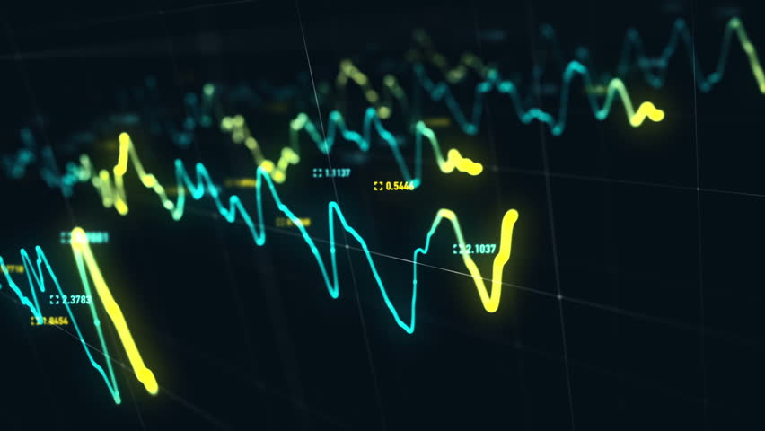 Animation growth of abstract charts with changing values of check points on dark background. Animation of seamless loop.   Shutterstock HD Video #1022110501